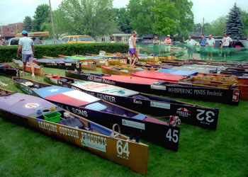 C-2 race canoes at the start of the Au Sable River Canoe Marathon.
