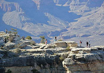Taking in a view of the Grand Canyon.