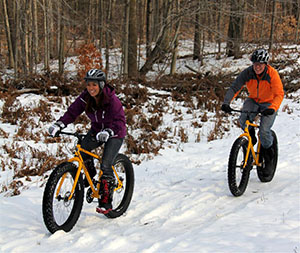 Fat tire bikers following a trail in winter.