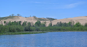 The famous sand dunes of Sleeping Bear Dunes National Lakeshore.