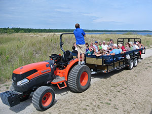 Tractor tours in a wilderness on South Manitou Island.