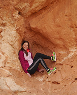 Resting in a cubby hole in Garden of the Gods.