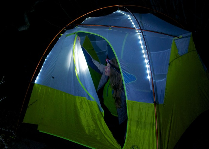 The Big Agnes mtnGLO Tent with built-in LED lighting.
