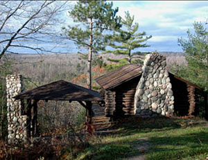 Honeymoon Cabin in the Green Timbers tract of the Pigeon River Country State Forest.