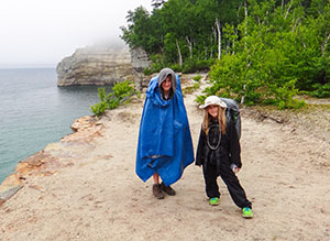 Bryce and Aspen braving the rain on the Lakeshore Trail.