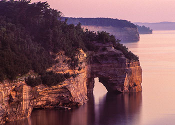 The famed Pictured Rocks at sunset.
