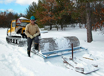 Lyle Kline of the Loud Creek Nordic Ski Club and the club's 25-year-old groomer.