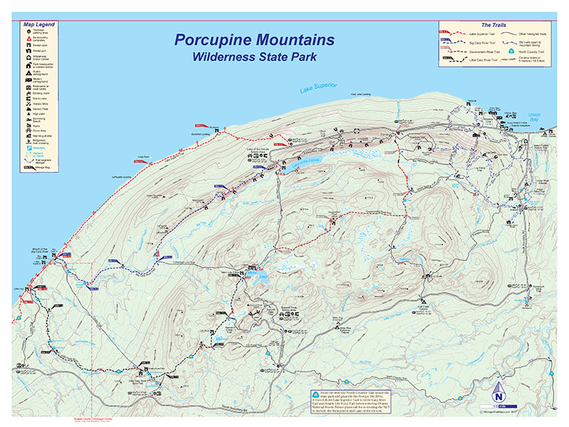 Porcupine Mountains Map Porcupine Mountains Wilderness State Park Trail Map   Michigan