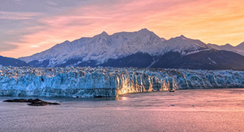 The 6-mile face of Hubbard Glacier at sunset.