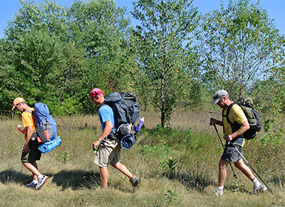 Backpackers in Sleeping Bear Dunes National Lakeshore.