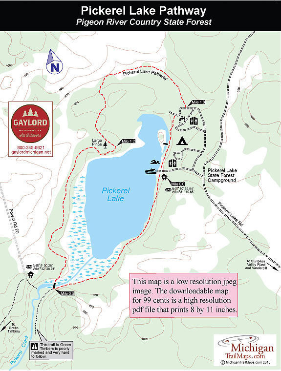 Pigeon River Country State Forest: Pickerel Lake Pathway