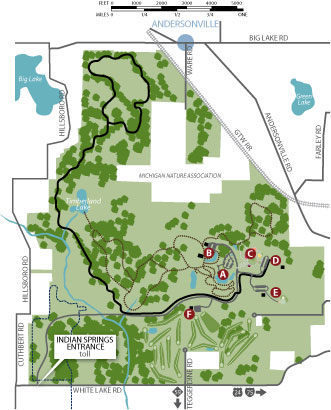 Indian Springs Metropark: Hike-Bike Trail on joseph davis state park map, kensington oh map, willow metropark map, clinton mi map, huron metroparks map, valley of fire state park map, stony creek metropark trail map, eastwood metropark map, independence oaks county park map, lums pond state park map, stony creek metro park map, pontiac lake recreation area map, henry cowell redwoods state park map, lake erie metropark map, kensington gardens map, hudson mills metropark map, wolcott mill metropark map, cedars of lebanon state park map, french creek state park map, proud lake trail map,