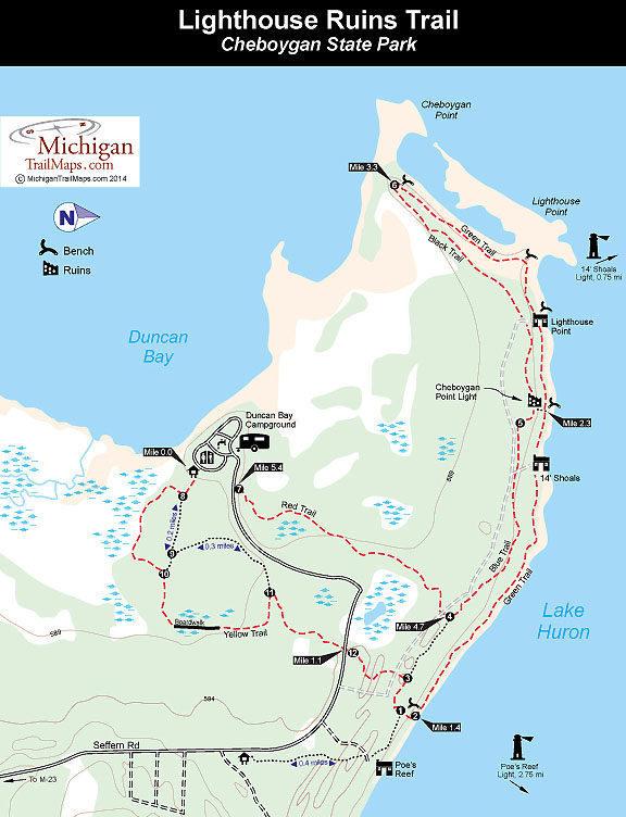 Cheboygan State Park - Lake huron on us map