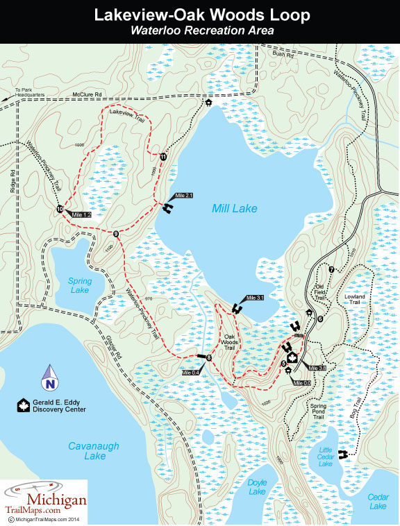 Lakeview Michigan Map.Waterloo Recreation Area Lakeview Oak Woods Trails