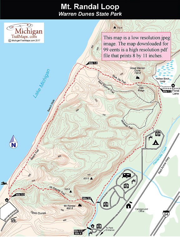 Warren Dunes State Park Mt Randal Loop: Warren Dunes State Park Trail Map At Usa Maps