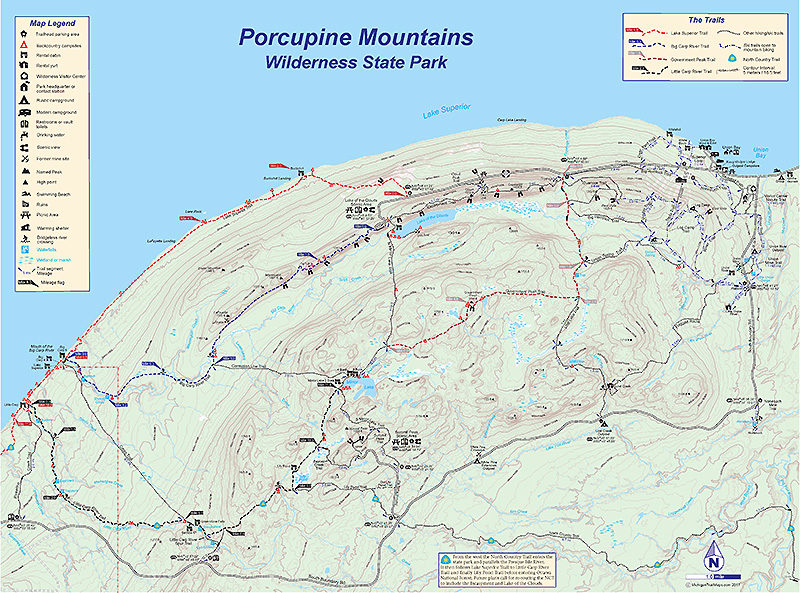 Porcupine Mountains Map Porcupine Mountains Wilderness State Park