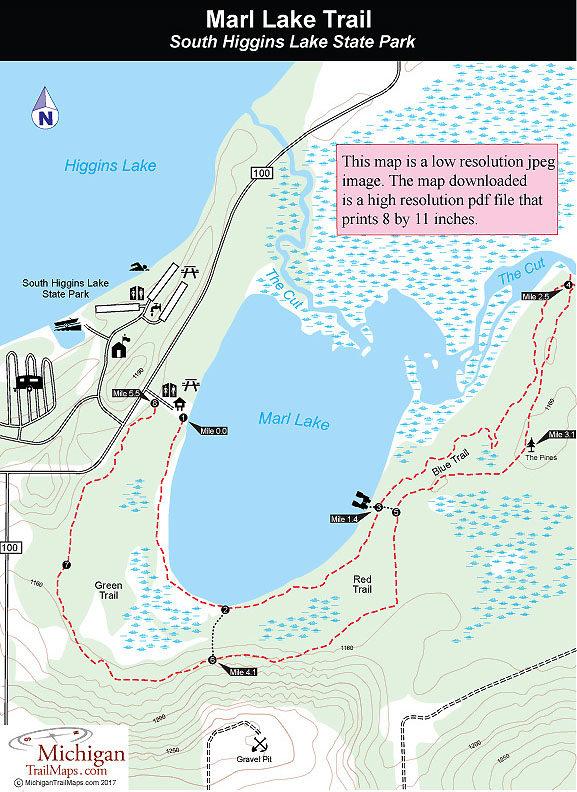higgins lake fishing map South Higgins Lake State Park Marl Lake Trail higgins lake fishing map